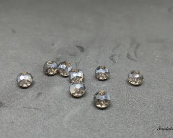 (PF64) Set of 20 faceted Crystal 6mm dark grey color effect glass beads