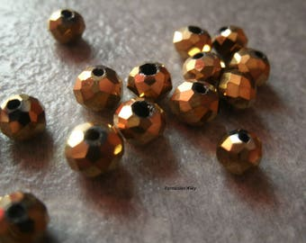 (PF67) Set of 20 faceted crystal color effect glass beads 6mm antique gold