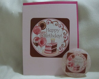 Happy Birthday Magnet Card Cute Gift Pink Cake Ballon 102