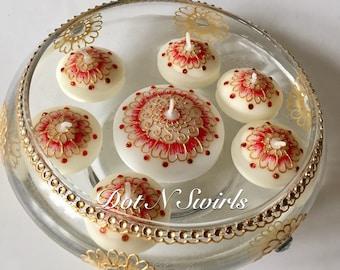 Set of 7,henna decorated floating candles set, wedding decor/festive decor/HOLIDAY decor/diwali decor/ Bollywood wedding/Indian wedding/spa