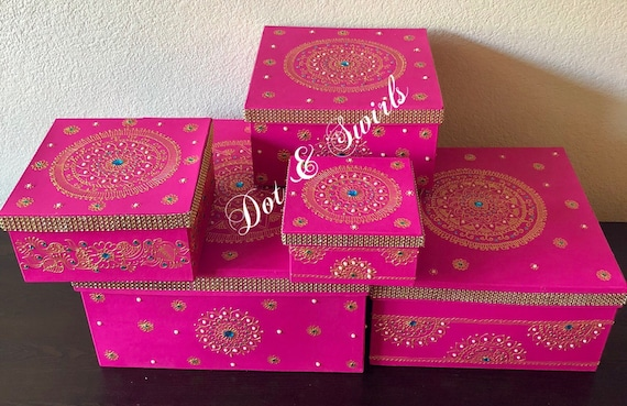 Set Of 5 Henna Decorated Card Board Boxes Wedding Gift Box Etsy
