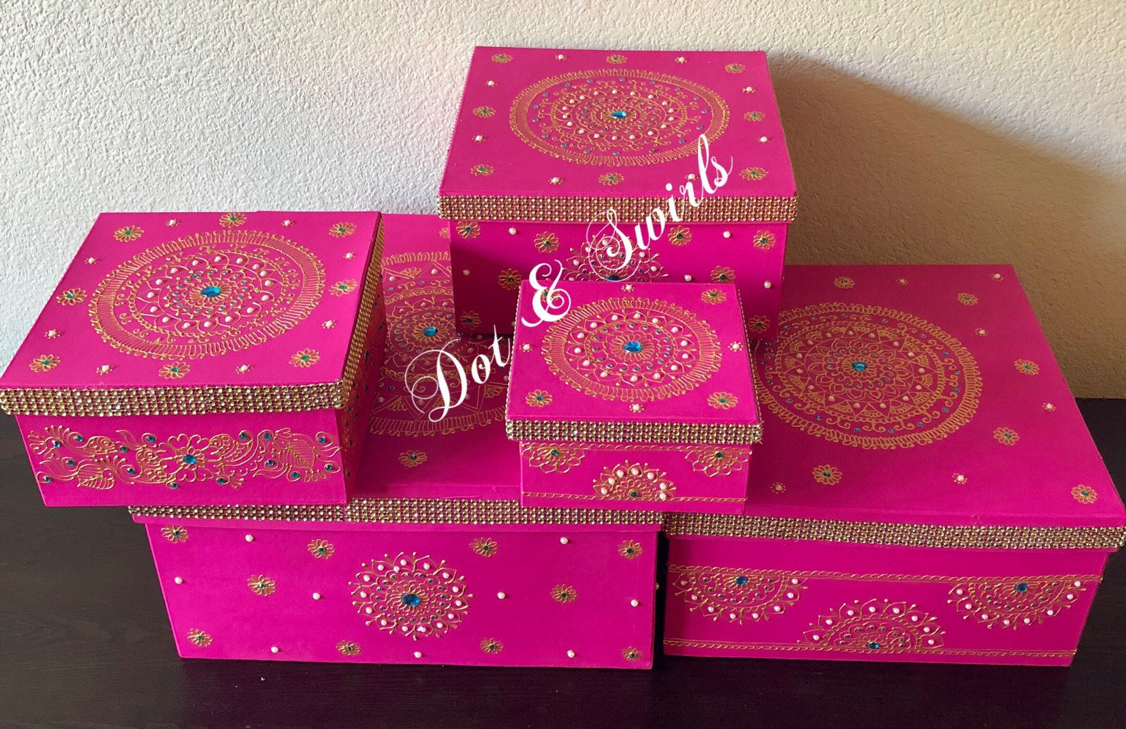 Set of 5 henna decorated card board boxes/wedding gift box | Etsy