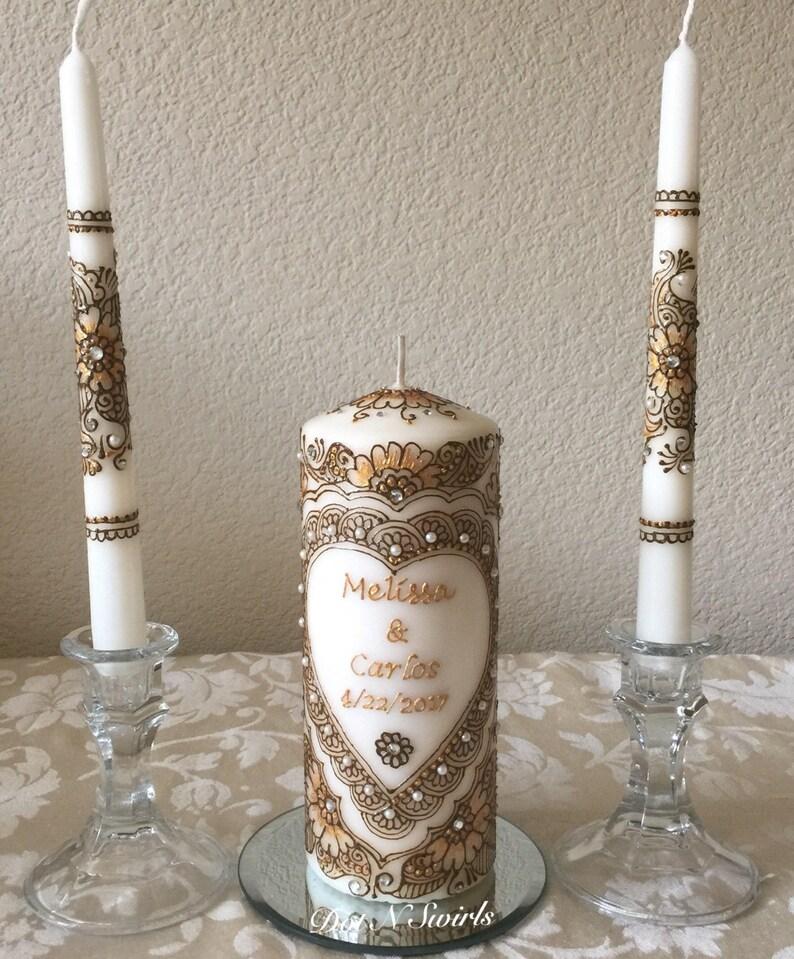 Personalized Unity Candle Set Wedding Unity Candle Set Custom Candles Wedding Candles Henna Paste Decorated Personalized Wedding Candle