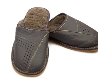 Men's Handmade Leather slippers! Perfect gift idea! Free  USPS 2-3 Day Priority Mail Shipping!