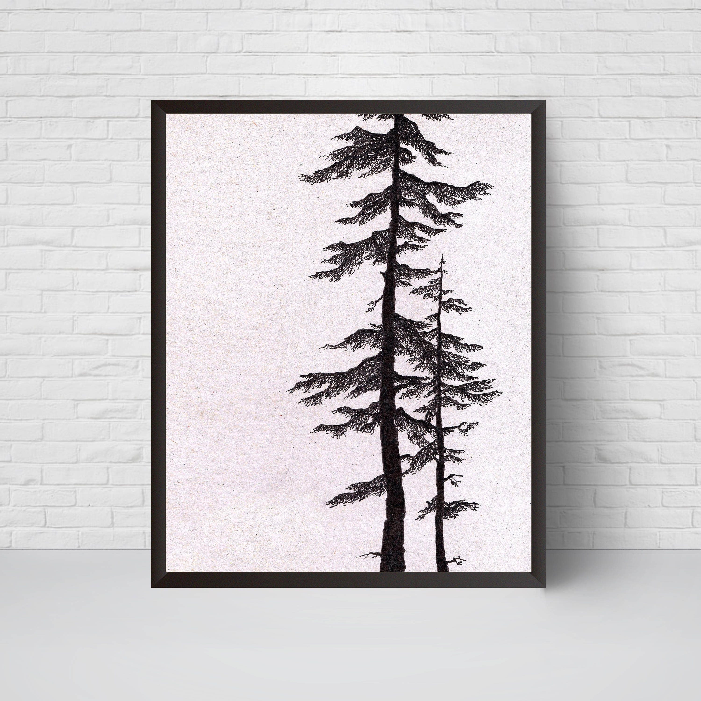 Minimalist Pine Tree: Pine Tree Art Print Wall Art Printable Minimalist Room