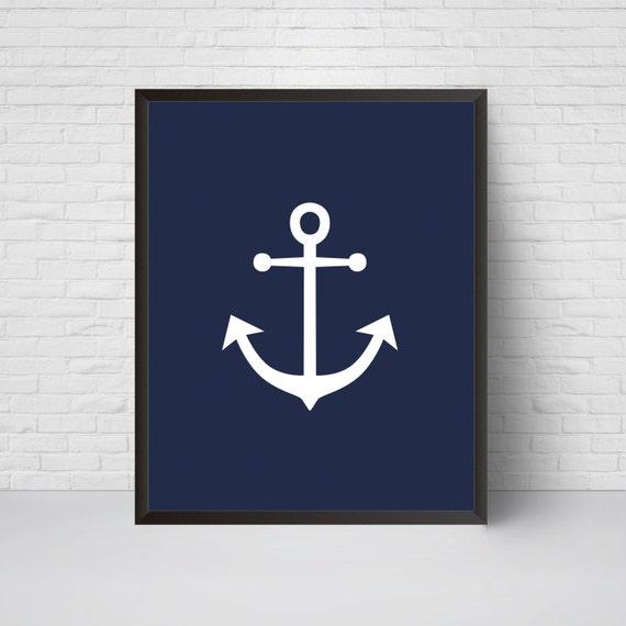 Anchor Wall Art Print Nautical Navy Anchor Nursery Wall | Etsy