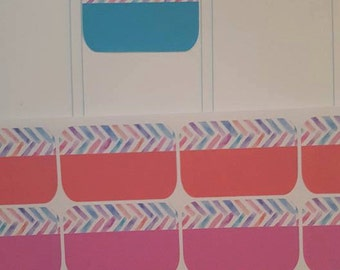 NEW!!! Watercolor and Solid Half Box Stickers, Set of 16 Stickers!