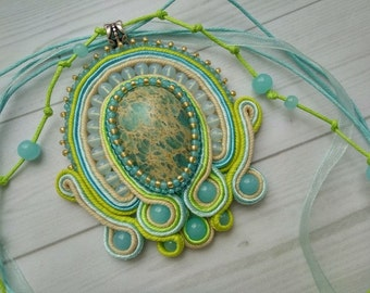 Blue-Green Necklace - Stone variscite - soutache jewelry - delicate, sweet, spring, freshness