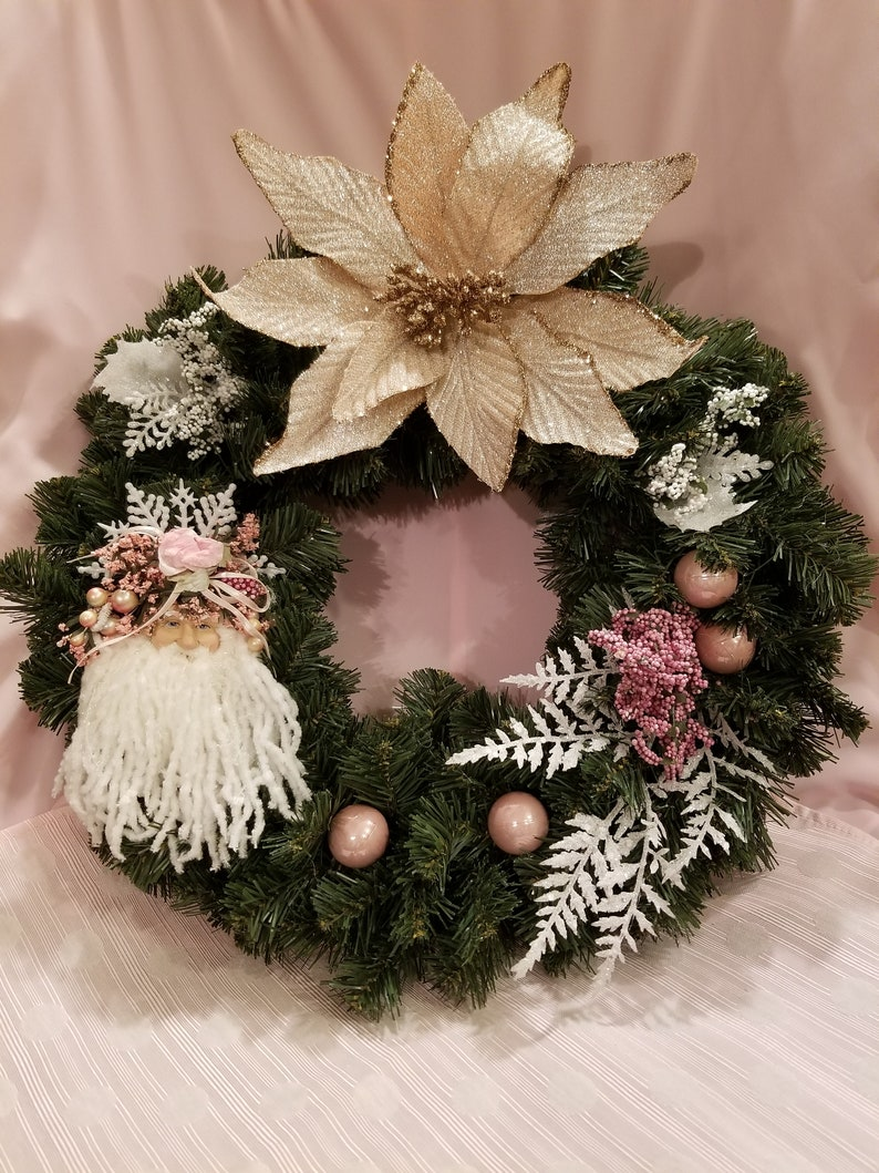 Santa Christmas Wreath With A Sparkling Pink Poinsettia And Pink Ornaments Reduced Price