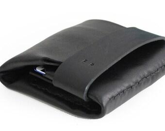 Wallet for him, gift for him, leather wallet color black, idea for dad. Slim LEATHER WALLET