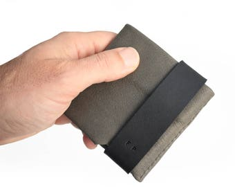 Wallet for him, gift for him, leather wallet color grey leather, idea for dad. Slim LEATHER WALLET