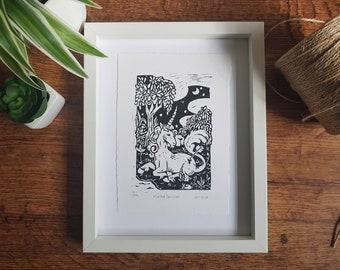 Limited Edition Unicorn Print Linoleum Print