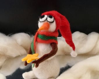 Black Friday Sales! Needle Felted Snowman   Wool Felted Christmas Decorations   Wool Felted Christmas Gift