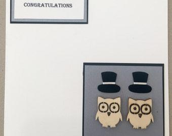Two Groom Owls (Congratulations, Gay Wedding or Gay Engagement Card)