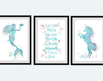 Unicorn Poster Set Of 3 Play With Fairies Print Mermaid Wall Art Playroom  Decoration Unicorn Wall Decor KIds Room Wall Art Nursery Decor S49