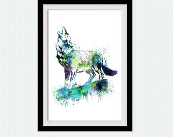 Wolf watercolor print Wolf howling colorful poster Grey wolf print Grey wolf poster Home decoration Wall hanging decor Wolf wall art  W311