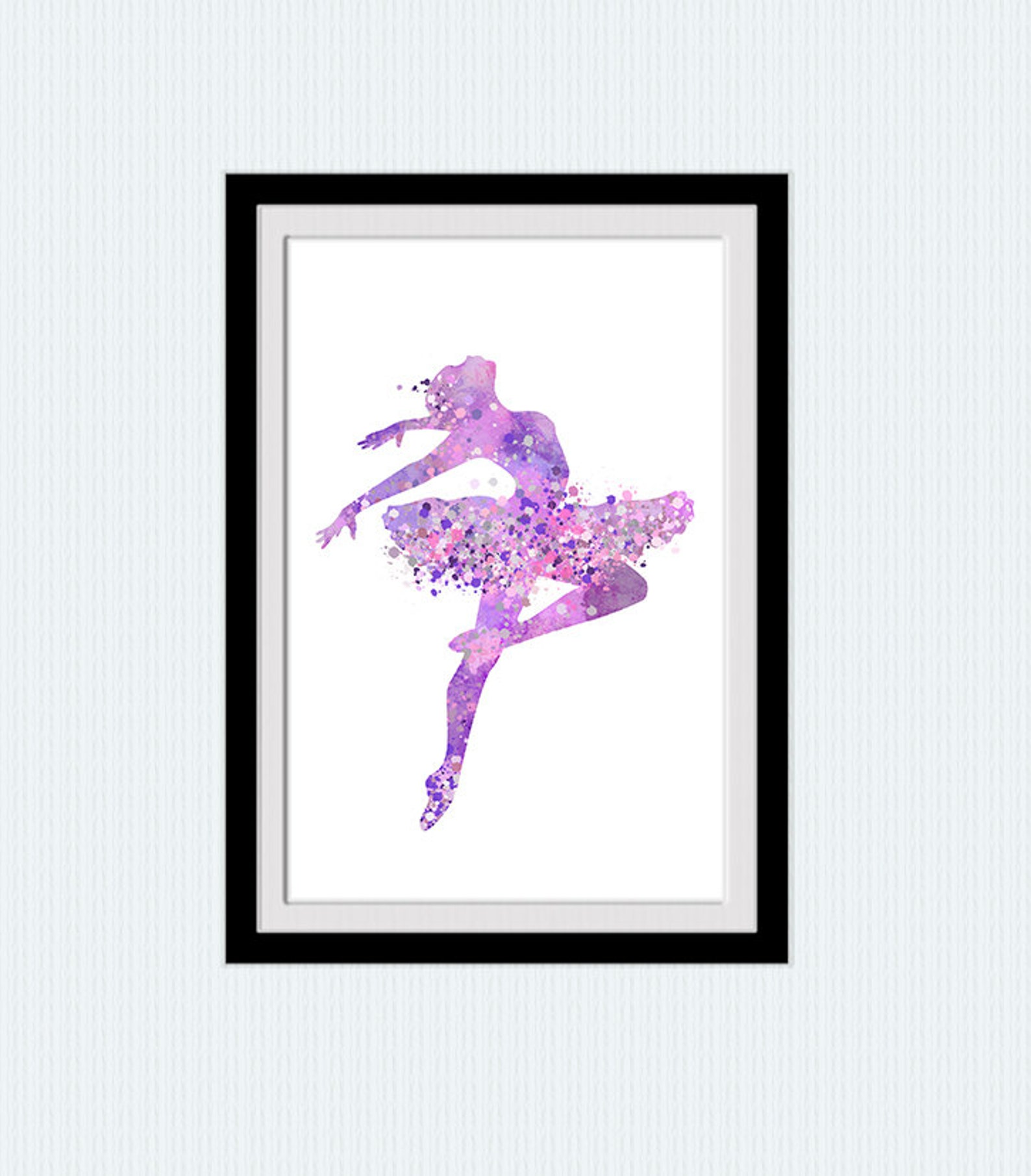 ballerina print ballet studio decor wall hanging art in lilac girls room wall decor ballerina art poster kids room wall art gift
