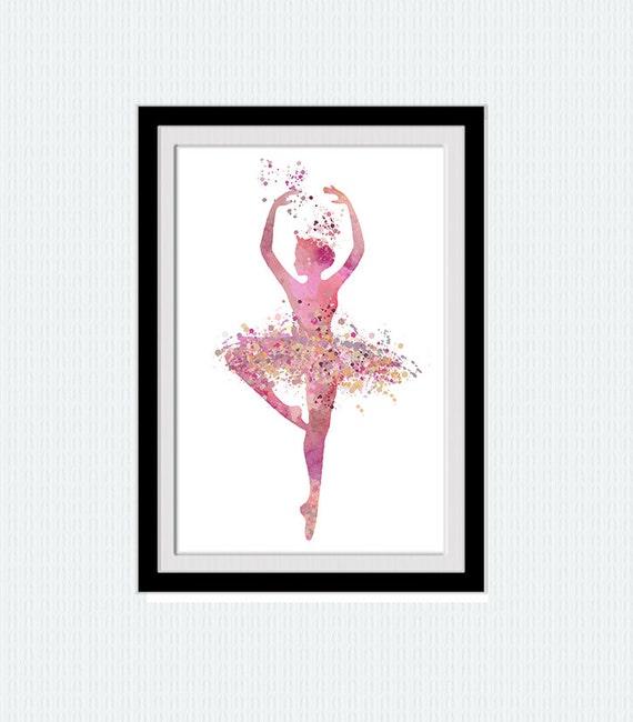 Ballerina Poster, Ballerina Aquarell Druck, rosa Aquarell Kunst, kleine Mädchen Tanz Plakat, Kinderzimmer Wandkunst, Geschenk zum Geburtstag, W187