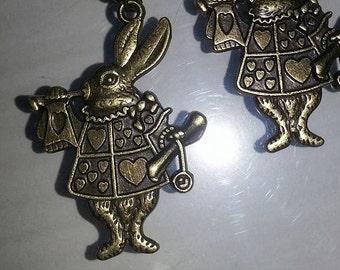 brass white rabbit, alice in wonderland, earrings