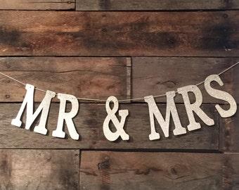 Silver Glitter Banner, Mr And Mrs Banner, Wedding Sign, Wedding Decor, Mr & Mrs.