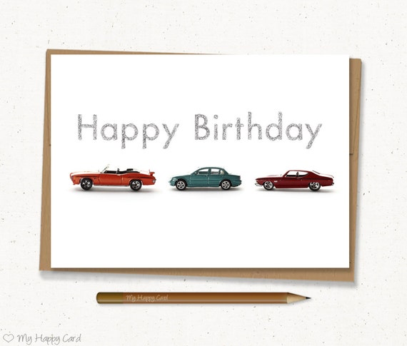Car Birthday Card Printable 5x7 Digital File Etsy