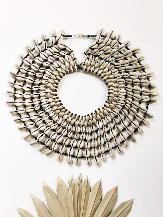 Of the Amazon Cowrie Cape // Cowry Necklace,Africa
