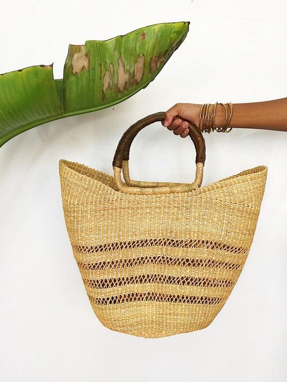 The Ghanian Market Bag// African Wicker Bag, Adink