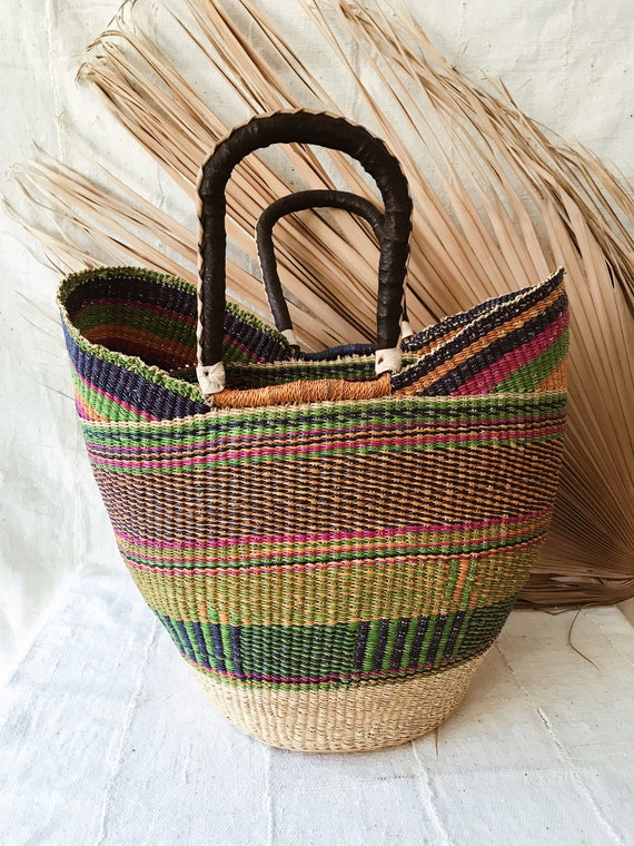 Woven African Market Tote-Multicolor // African Wi