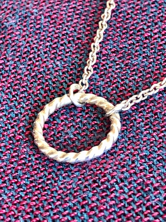Vintage Bold Modernist .925 Sterling Silver Circle or Eternity Pendant on Solidly Constructed 18 Inch Chain Statement Necklace