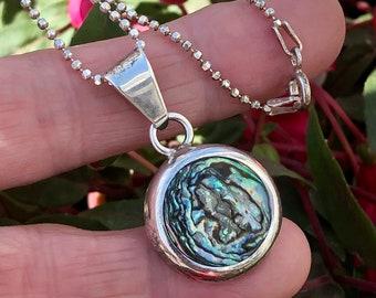 925 Round Abalone Pendant Necklace