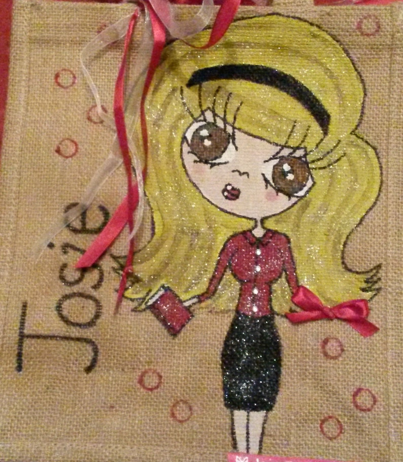 Any Name or words Unique Gift Personalised /'Mini Me/' Jute Tote Bag Hand painted Skirt and Blouse Design