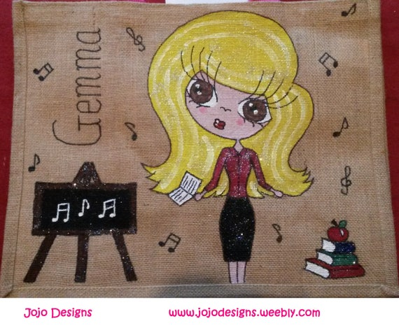 Unique Gift Personalised /'Mini Me/' Jute Tote Bag Any Name or words Hand painted Maleficent Design
