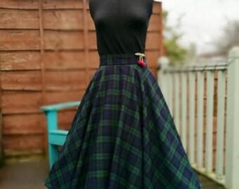 598067985 Circle skirt/50s skirt/tartan skirt/plaid skirt/midi skirt/vintage  style/swing skirt/full skirt/blackwatch/pinup/rockabilly/MADE TO MEASURE