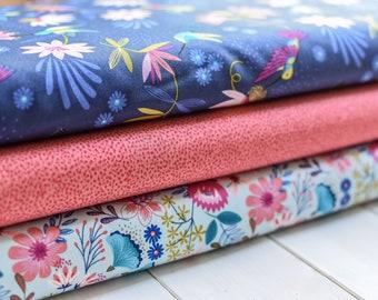 Fat Quarters Hummingbird Bird Flower 100/% Craft Cotton Ivory Cream Fabric