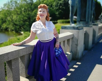 pinup skirt/circle skirt/vintage skirt/retro skirt/purple skirt/50s skirt/fifties skirt/midi skirt/swing skirt/full skirt/CUSTOM MADE