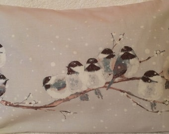 Laura Ashley Winter Garden Birds Print Handmade Bolster Cushion Cover  20 x 12 inch
