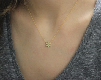 14K Mini Delicate Diamond and Gold Flower