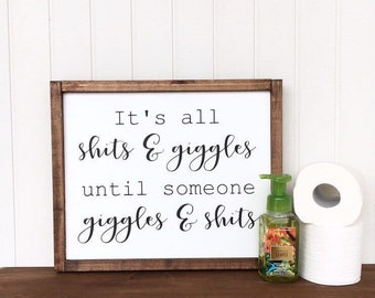 Funny Bathroom Art, Bathroom Wooden Sign, Humorous Sign, Funny Gift,  Restroom Wall Decor