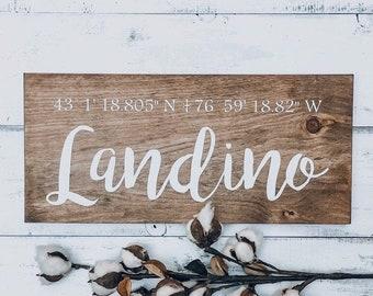 Coordinates wall art, Custom coordinates sign, Wood wall art, Wedding gift for couple, Wooden sign