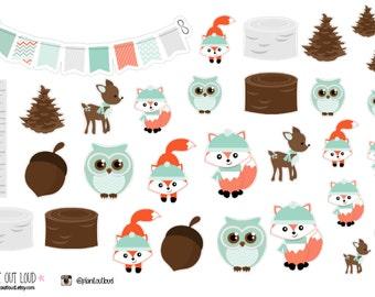 Winter Woodland Creature Stickers  (planner stickers)