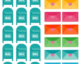 Mail and envelope stickers (Planner Stickers)