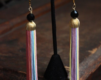 Fringe Earrings, Ballroom Dance, Ballroom Jewelry, Competition Jewelry, Tassel Earrings, Ballroom Competition, Rainbow Fringe