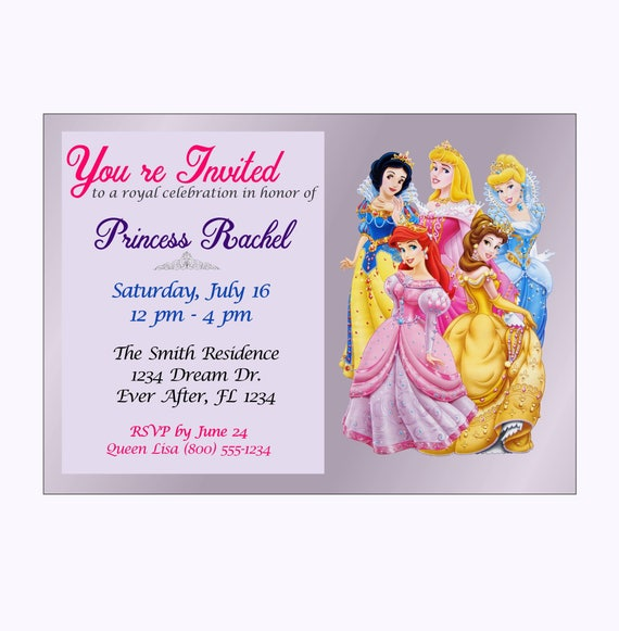 Personalized disney princess birthday invitations etsy image 0 filmwisefo