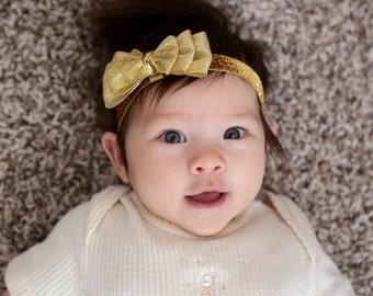 Gold baby headband-gold bow tie headband-Gold metallic glitter hair bow- gold bow tie bow-gold newborn headband-metallic gold baby headband