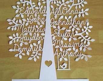 Family Tree, Mothers day gift, Mum gift, Paper Cut, family tree frame, Personalised gift, Mom Gift, Grandparent Gift, Personalized Gift