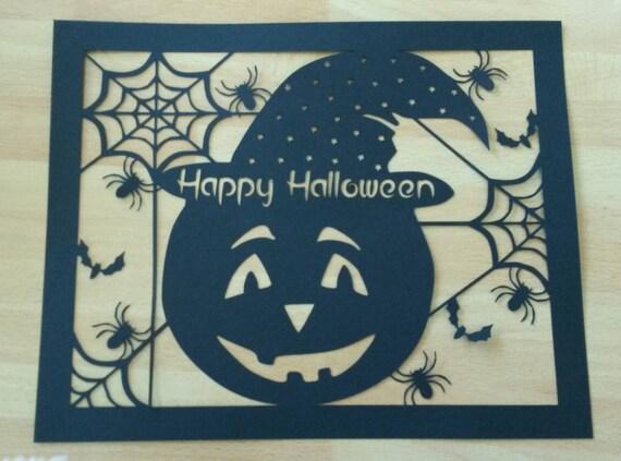 Halloween wall decor paper cut Pumpkin wall art spiders | Etsy