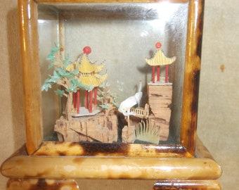 Vintage Chinese Carved Cork Ornament Miniature Landscape Display Decorative Piece circa 1970-80/'s  English Shop