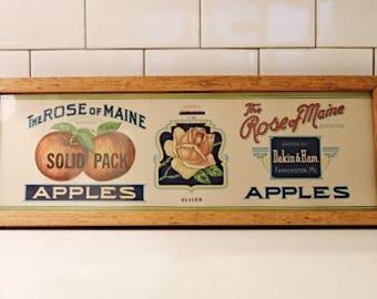 Antique Framed Apple Sign