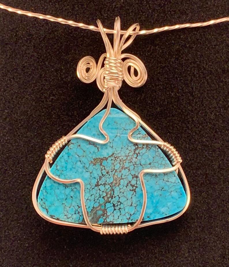 Triangular Turquoise Wire Wrap Gemstone Necklace