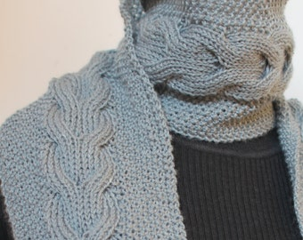 Handmade knit scarf. Knitted reversible cable scarf